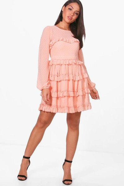 BOOHOO Dobby Ruffle Skirt Skater Dress - Dresses are the most-wanted wardrobe item for...
