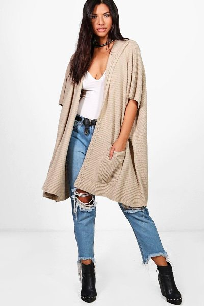Boohoo Lucy Hooded Cape Cardigan in stone - Nail new season knitwear in the jumpers and cardigans...