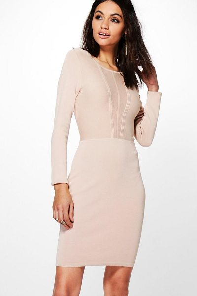 Boohoo Lucy Mesh Insert Bodycon Dress in beige - Dresses are the most-wanted wardrobe item for...