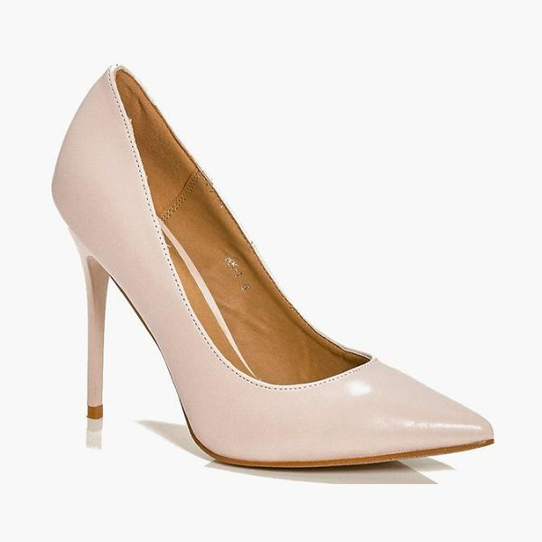 Boohoo Lucy Pointed Glitter Sole Court in nude - Strappy, caged, laced-up, or adorned in stand-out...