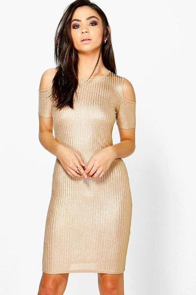 Boohoo Rib Cold Shoulder Dress in nude - Dresses are the most-wanted wardrobe item for...
