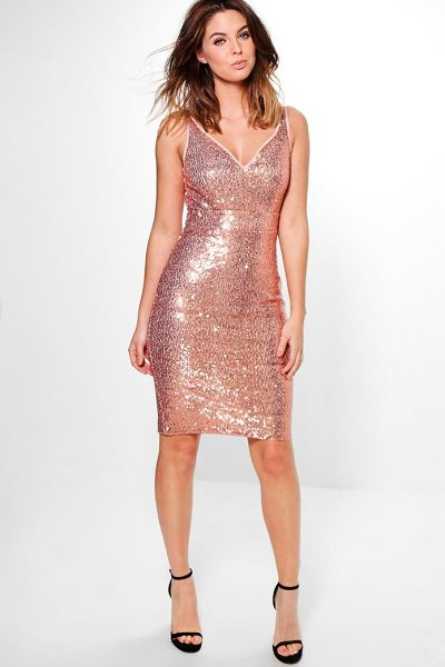 Boohoo Lucy Sequin Stretch Bodycon Dress in dusky pink - Dresses are the most-wanted wardrobe item for...
