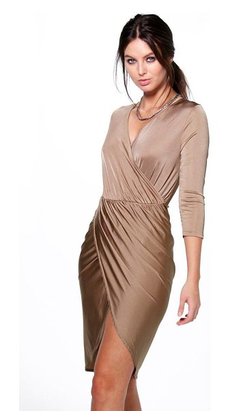 Boohoo Lucy Slinky Wrap Over Bodycon Dress in sand - Dresses are the most-wanted wardrobe item for...