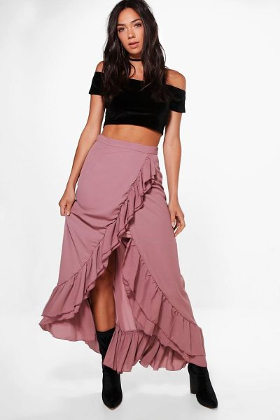 Boohoo Luna Ruffle Front Dipped Hem Maxi Skirt in mauve - Skirts are the statement separate in every wardrobe This...