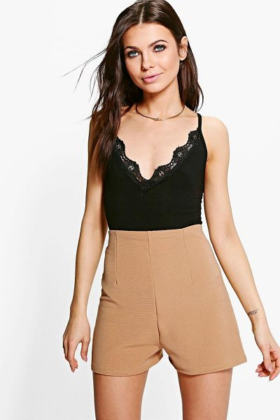 Boohoo Laura Ribbed High Waist Hotpant in camel - Parade your pins in a pair of shortsA versatile...
