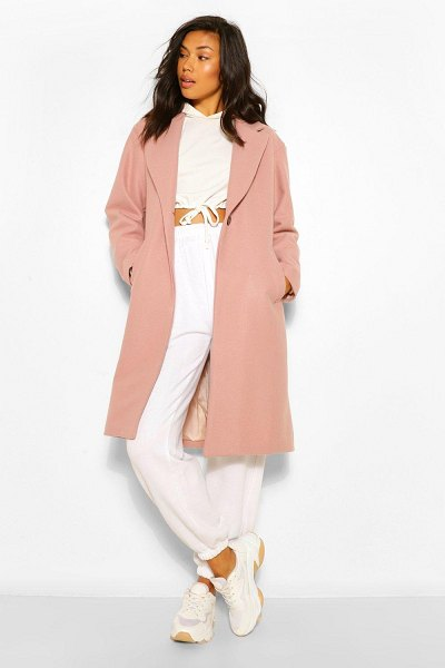 Boohoo Luxe Brushed Wool Look Tailored Coat in dusky pink