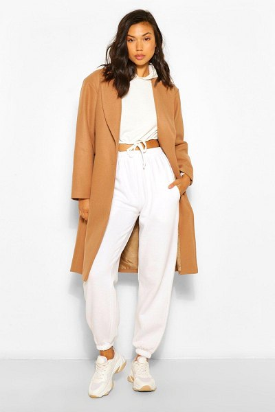 Boohoo Luxe Brushed Wool Look Tailored Coat in camel