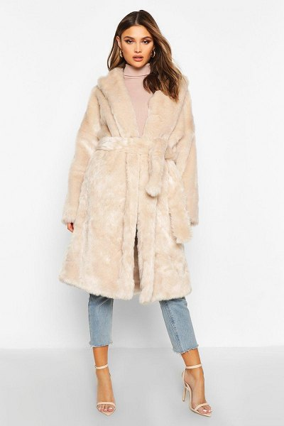 Boohoo Luxe Faux Fur Belted Coat in oatmeal