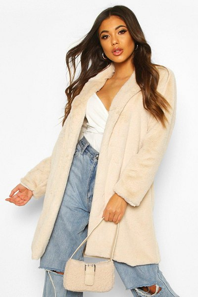 Boohoo Luxe Faux Fur Coat in sand