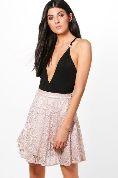 Boohoo Lydia Basic Lace Skater Mini Skirt in mauve - Skirts are the statement separate in every wardrobe This...