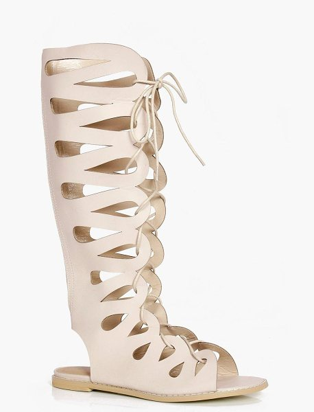 Boohoo Lydia Ghillie Lace Up Gladiator Knee High Sandals in tan - We'll make sure your shoes keep you one stylish step...