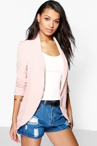 Boohoo Lydia Turn Cuff Boyfriend Blazer in blush - Wrap up in the latest coats and jackets and get...