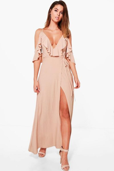 Boohoo Lyla Frill Detail Drop Shoulder Wrap Tie Maxi Dress in stone - Dresses are the most-wanted wardrobe item for...