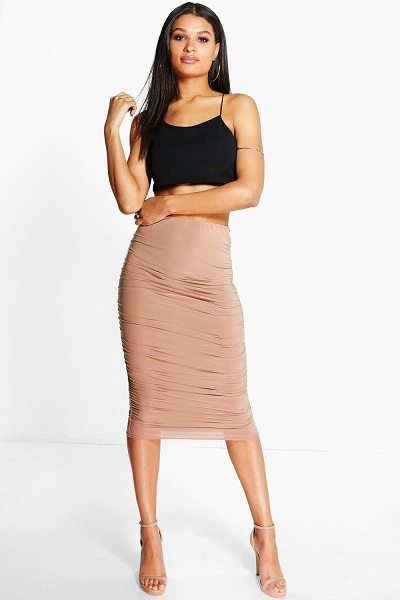 Boohoo Maddie Rouched Side Slinky Midi Skirt in sand - Skirts are the statement separate in every wardrobe This...