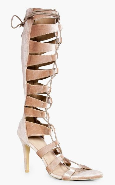 Boohoo Maddison Knee High Lace Up Gladiator Heel in gold