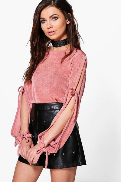 Boohoo Maddison Premium Fabric Tie Sleeve Top in dusky pink - Steal the style top spot in a statement separate from...