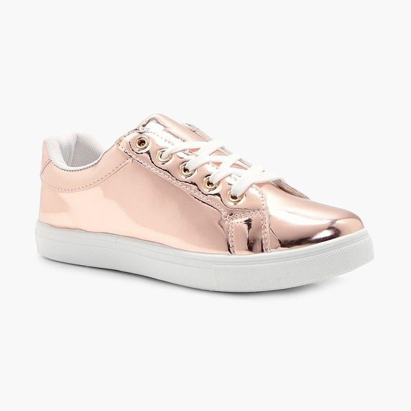BOOHOO Maddison Rose Gold Mirror Trainer - We'll make sure your shoes keep you one stylish step...