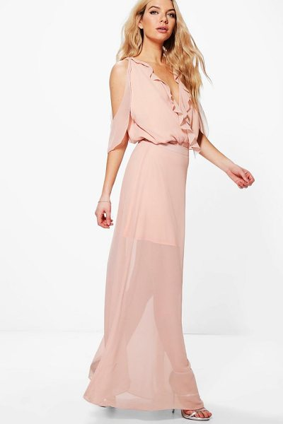 Boohoo Maddison Ruffle Open Shoulder Maxi Skirt Co-Ord in blush - Co-ordinates are the quick way to quirky this seasonMake...