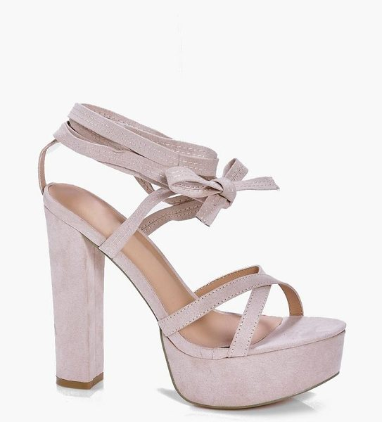 Boohoo Madeleine Lace Up Platform in stone - Sandals are a staple for those sunny daysSeal the deal...