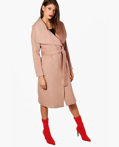 Boohoo Madeleine Maxi Belted Waterfall Coat in camel - Wrap up in the latest coats and jackets and get...