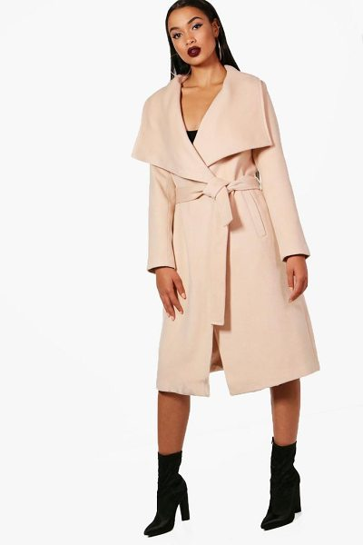 Boohoo Madeleine Belted Waterfall Coat in nude - Wrap up in the latest coats and jackets and get...