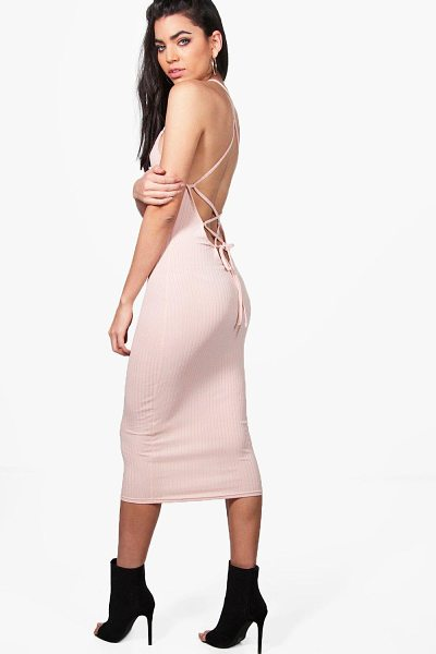 Boohoo Madison Lace Up Back Strappy Midi Dress in nude - Dresses are the most-wanted wardrobe item for...