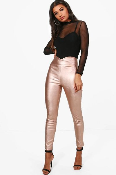 Boohoo Leather Look High Waist Skinny Trousers in rose gold - Trousers are a more sophisticated alternative to...