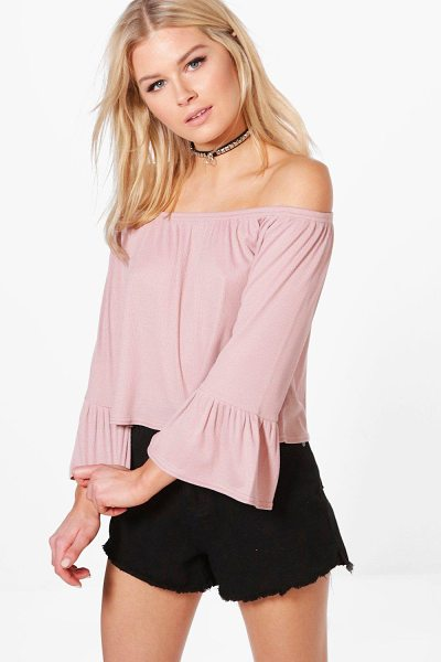 Boohoo Madison Off Shoulder Fitted Sleeve Top in dusky pink - Steal the style top spot in a statement separate from...