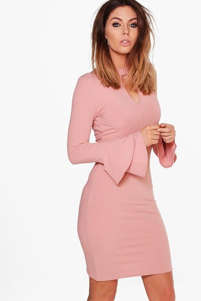 Boohoo Madison Rib Keyhole Flute Sleeve Bodycon Dress in rose - Dresses are the most-wanted wardrobe item for...