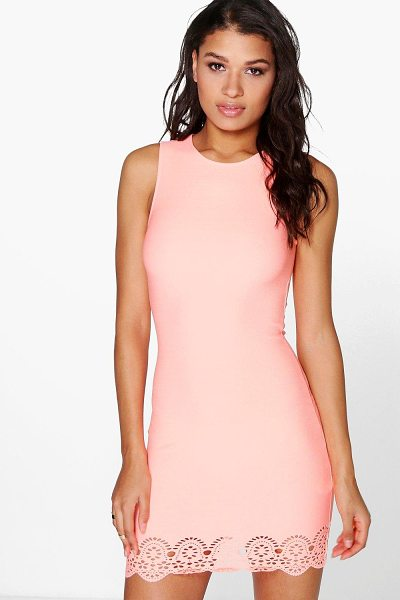 Boohoo Maia Lazer Cut Hem Detail Bodycon Dress in sugar-coral - Get dance floor-ready in an entrance-making evening...