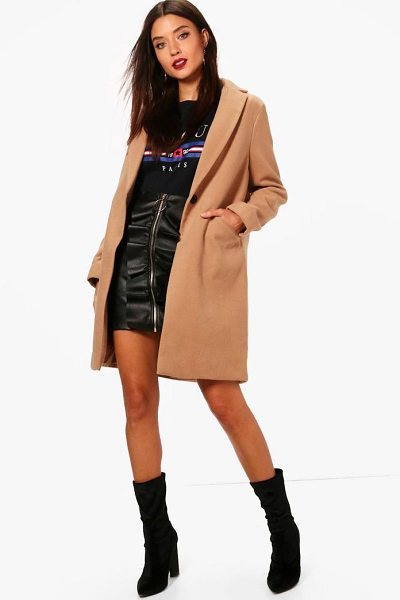 Boohoo Crombie Coat in camel - Wrap up in the latest coats and jackets and get...
