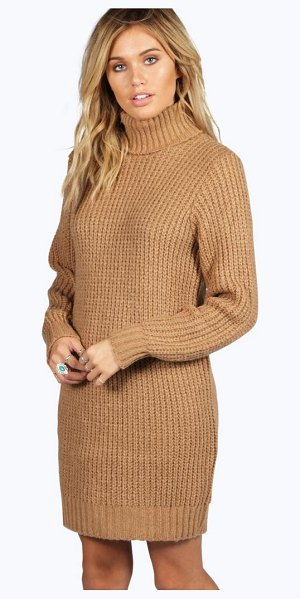BOOHOO Maisie Roll Neck Soft Knit Jumper Dress in camel - Nail new season knitwear in the jumpers and cardigans...
