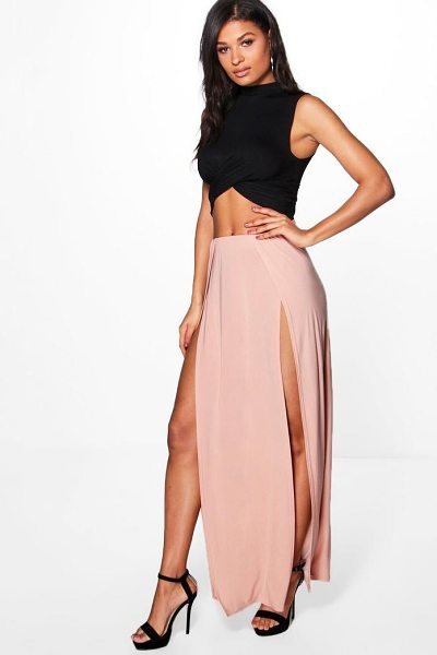 Boohoo Mara Double Thigh High Split Maxi in blush - Skirts are the statement separate in every wardrobe This...