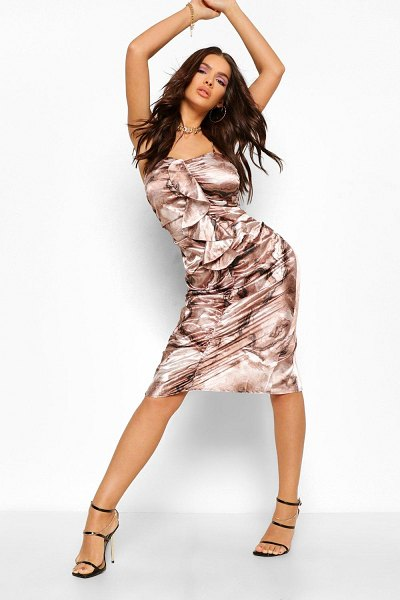 Boohoo Marble Print Satin Ruched Frill Midi Dress in brown