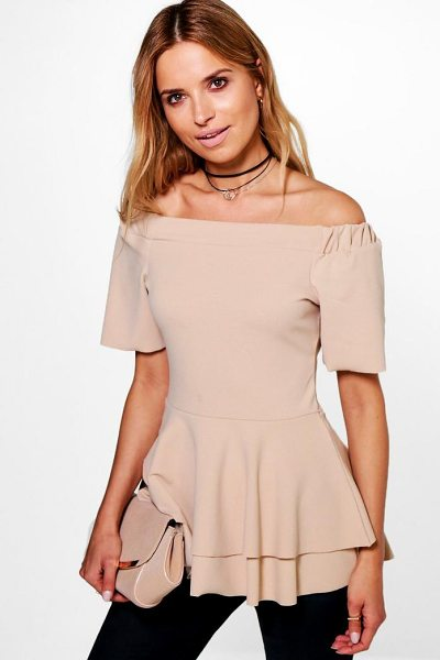 BOOHOO Bardot Double Layer Peplum Top - Steal the style top spot in a statement separate from...