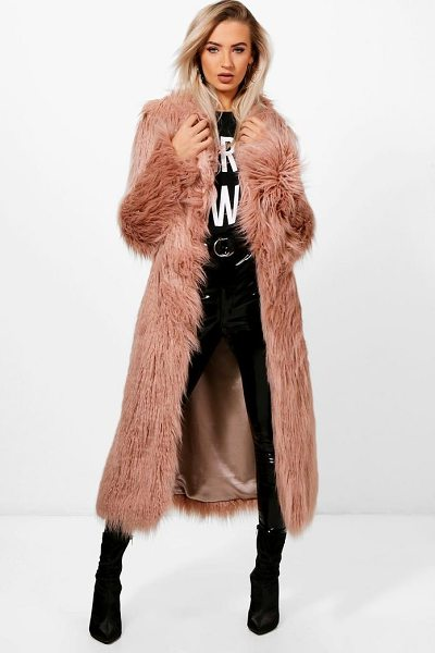 Boohoo Maria Boutique Mongolian Maxi Faux Fur Coat in natural - Wrap up in the latest coats and jackets and get...