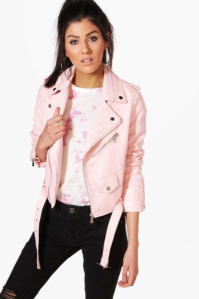 Boohoo Maria Crop Leather Look Biker Jacket in blush - Wrap up in the latest coats and jackets and get...
