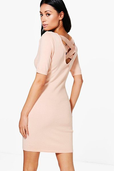 BOOHOO Maria Lace Up Back Jumper Dress in pink - Nail new season knitwear in the jumpers and cardigans...