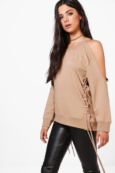 BOOHOO Maria Lace Up Cold Shoulder Sweatshirt - Steal the style top spot in a statement separate from...