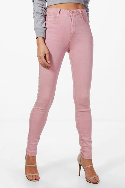 Boohoo Maria Mid Rise Skinny Jeans in antique rose - Jeans are the genius wear-with-anything wardrobe...