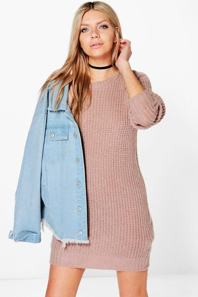 Boohoo Maria Soft Knit Jumper Dress in beige - Nail new season knitwear in the jumpers and cardigans...