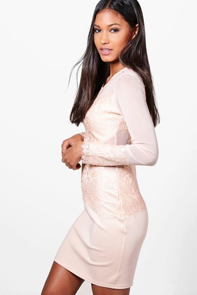 Boohoo Mariane Mesh+Eyelash Lace Bodycon Dress in nude - Dresses are the most-wanted wardrobe item for...