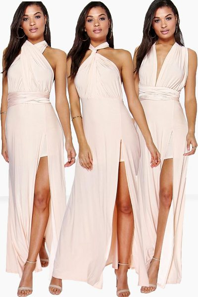 Boohoo Multiway Side Split Skirt Maxi Dress in blush - Dresses are the most-wanted wardrobe item for...
