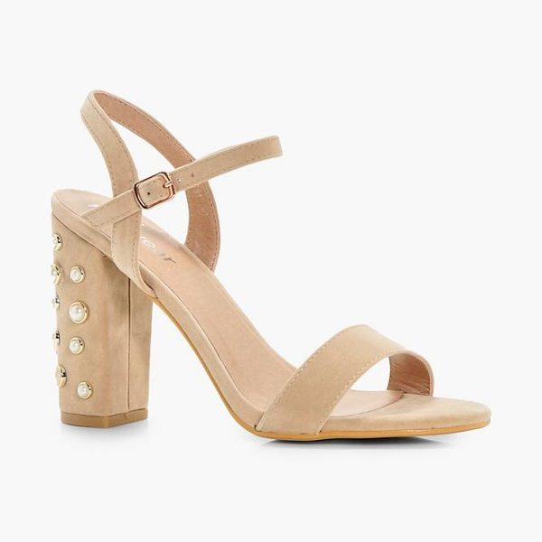 Boohoo Martha Pearl Embellished Block Heels in nude - We'll make sure your shoes keep you one stylish step...