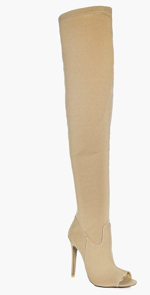 Boohoo Martha Peeptoe Thigh High Boots in stone - We'll make sure your shoes keep you one stylish step...
