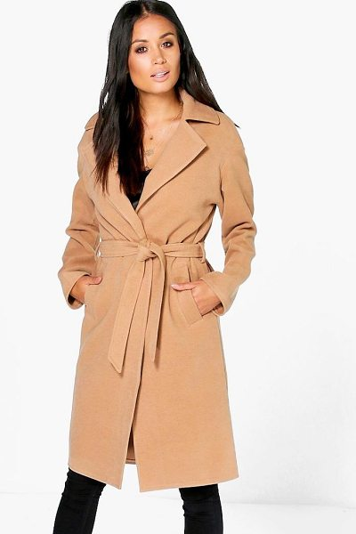 Boohoo Matilda Belted Wool Look Robe Duster in camel - Wrap up in the latest coats and jackets and get...