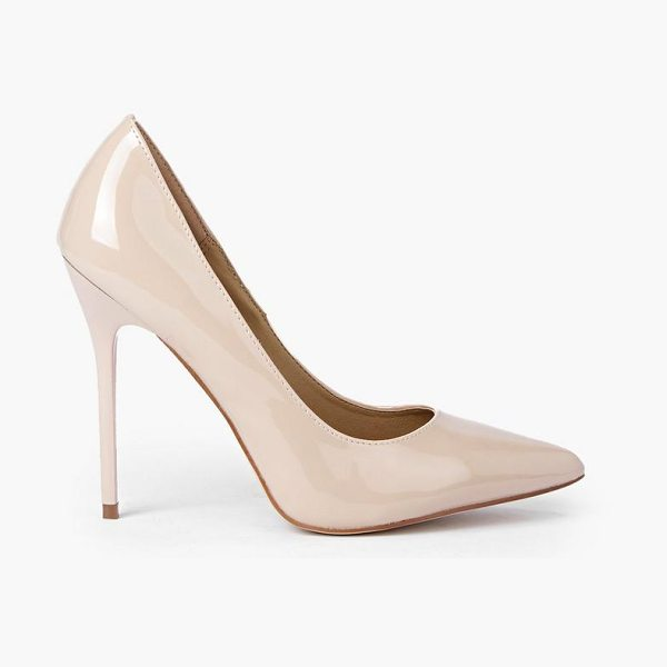 Boohoo Patent Court Shoes in nude - We'll make sure your shoes keep you one stylish step...