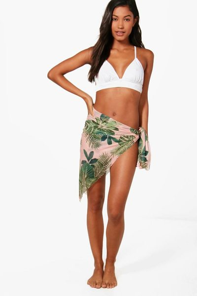Boohoo Matilda Tropical Leaf Print Sarong in pink - Make a splash in our stylish swimwearBagging yourself...