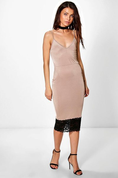Boohoo Maura Strappy Lace Hem Detail Midi Dress in sand - Dresses are the most-wanted wardrobe item for...