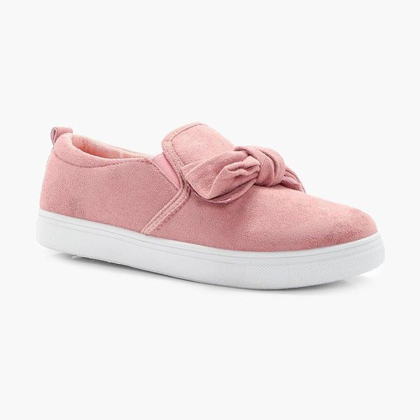 Boohoo Maya Bow Trim Skaters in blush - We'll make sure your shoes keep you one stylish step...